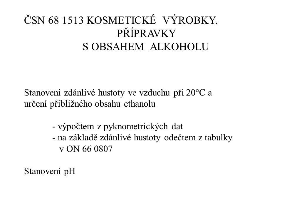 ČSN 68 1513 KOSMETICKÉ VÝROBKY. PŘÍPRAVKY S OBSAHEM ALKOHOLU Stanovení zdánlivé hustoty ve vzduchu při 20°C a určení přibližného obsahu ethanolu - výp