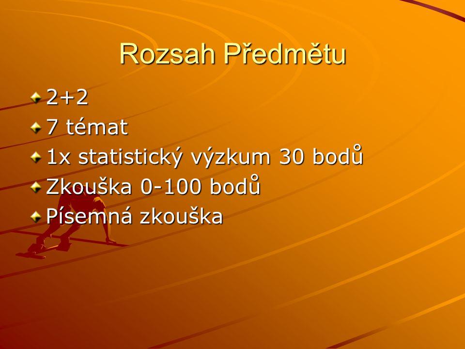 Rozsah Předmětu 2+2 7 témat 1x statistický výzkum 30 bodů Zkouška 0-100 bodů Písemná zkouška