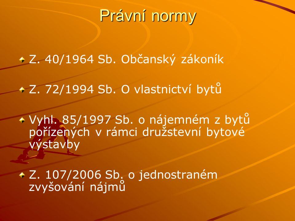 Právní normy Z.40/1964 Sb. Občanský zákoník Z. 72/1994 Sb.