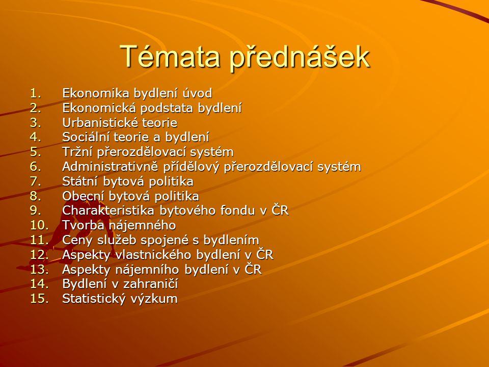 Témata přednášek 1.Ekonomika bydlení úvod 2.Ekonomická podstata bydlení 3.Urbanistické teorie 4.Sociální teorie a bydlení 5.Tržní přerozdělovací systém 6.Administrativně přídělový přerozdělovací systém 7.Státní bytová politika 8.Obecní bytová politika 9.Charakteristika bytového fondu v ČR 10.Tvorba nájemného 11.Ceny služeb spojené s bydlením 12.Aspekty vlastnického bydlení v ČR 13.Aspekty nájemního bydlení v ČR 14.Bydlení v zahraničí 15.Statistický výzkum