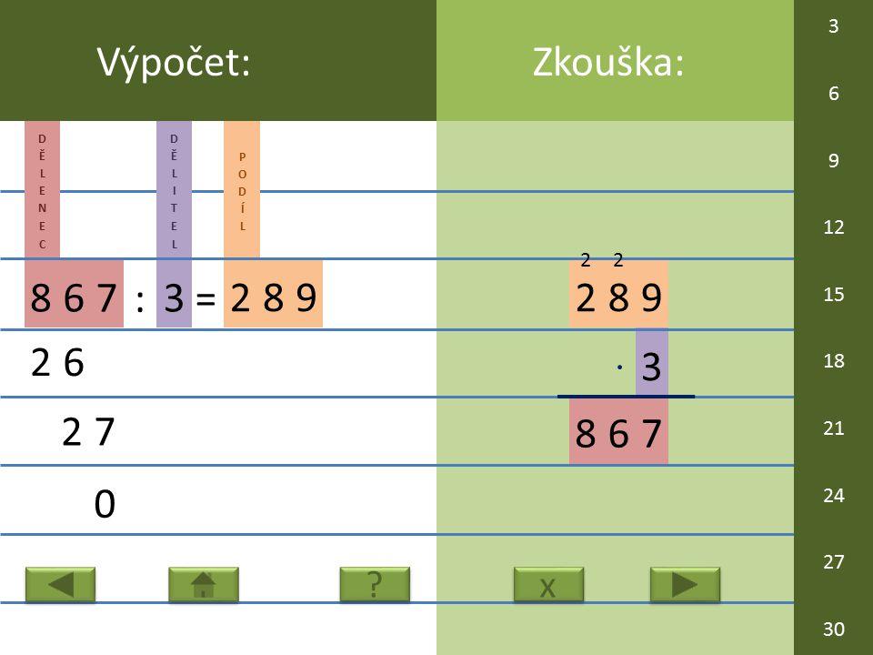 3 289 86 Zkouška:Výpočet: 867 : 3 = 289 26 27 0 7 x x ? ? 2 2 3 6 9 12 15 18 21 24 27 30