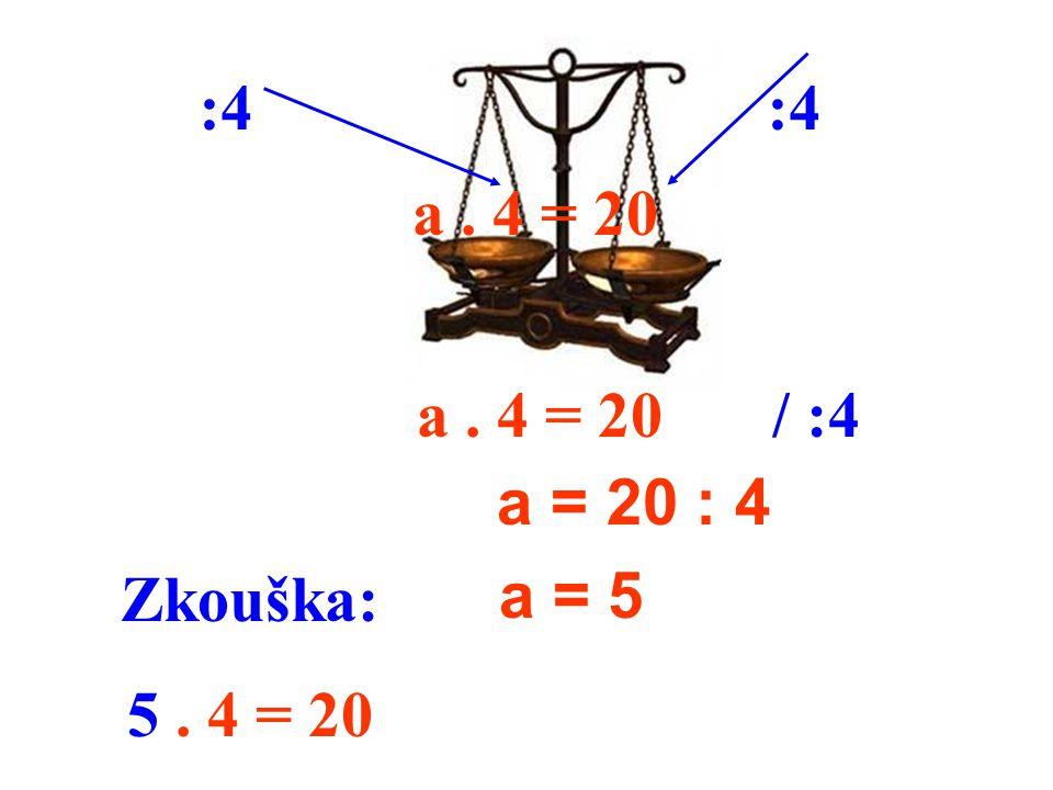a. 4 = 20 a = 20 : 4 a = 5 :4 a. 4 = 20/ :4 Zkouška: 5. 4 = 20