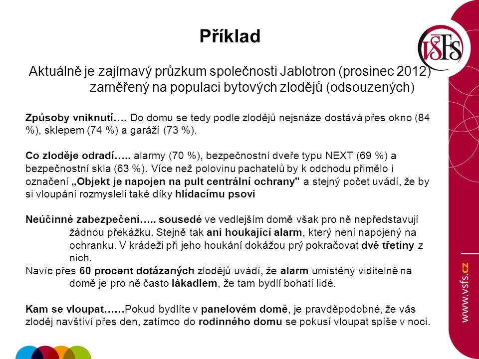 Příklad Aktuálně je zajímavý průzkum společnosti Jablotron (prosinec 2012) zaměřený na populaci bytových zlodějů (odsouzených) Způsoby vniknutí….