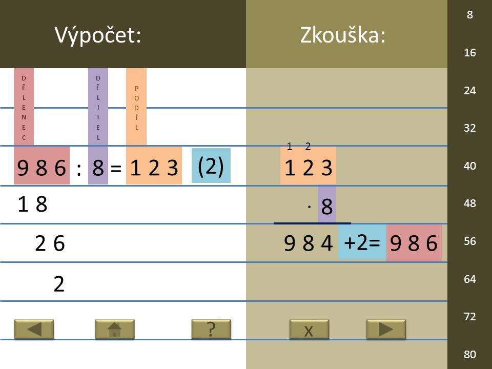 9 8 6 8 123 98 Zkouška:Výpočet: 986 : 8 = 123 18 26 2 4 x x .