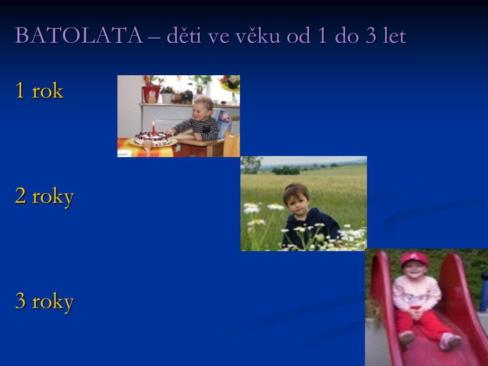 BATOLATA – děti ve věku od 1 do 3 let 1 rok 2 roky 3 roky