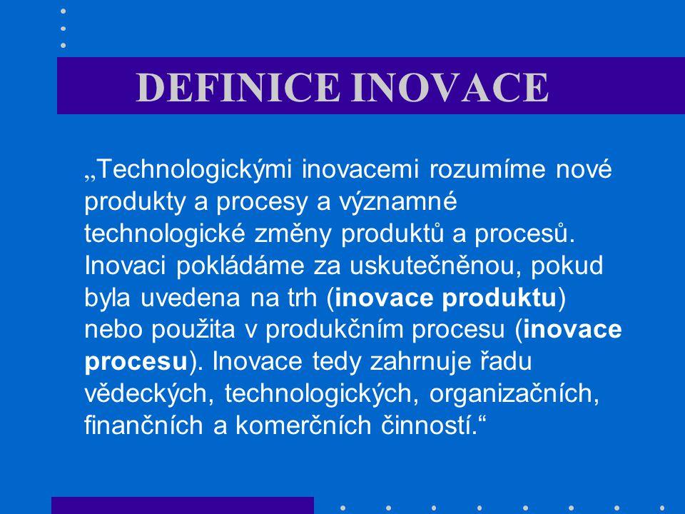 """Co je inovace – 4P inovace: nov é produkty a procesy a významn é (technologick é ) změny produktů a procesů; 4P: –inovace produktu: nové produkty uvedené na trh: nový model auta, nový balíček bankovních služeb –inovace procesu: změna procesů produkce a distribuce: reorganizace, změna způsobu výroby, změna administrativních procesů –inovace pozice (marketingová): změna kontextu (trhu), kam je produkt uveden: –inovace paradigmatu: změna rámce, způsobu myšlení: Ford – změna obchodního modelu (""""auto pro každého ); PC – počítač do domácnosti"""