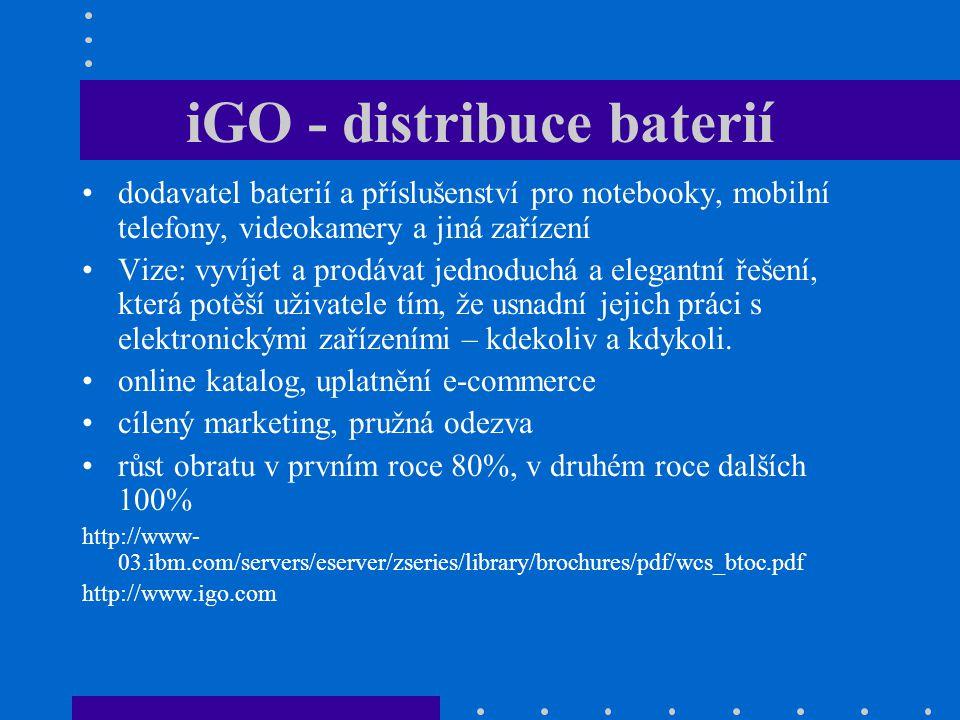 iGO - distribuce baterií dodavatel baterií a příslušenství pro notebooky, mobilní telefony, videokamery a jiná zařízení Vize: vyvíjet a prodávat jedno