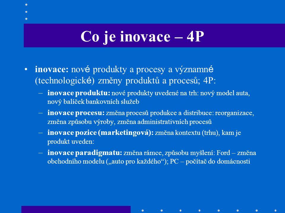 Co je inovace – 4P inovace: nov é produkty a procesy a významn é (technologick é ) změny produktů a procesů; 4P: –inovace produktu: nové produkty uved
