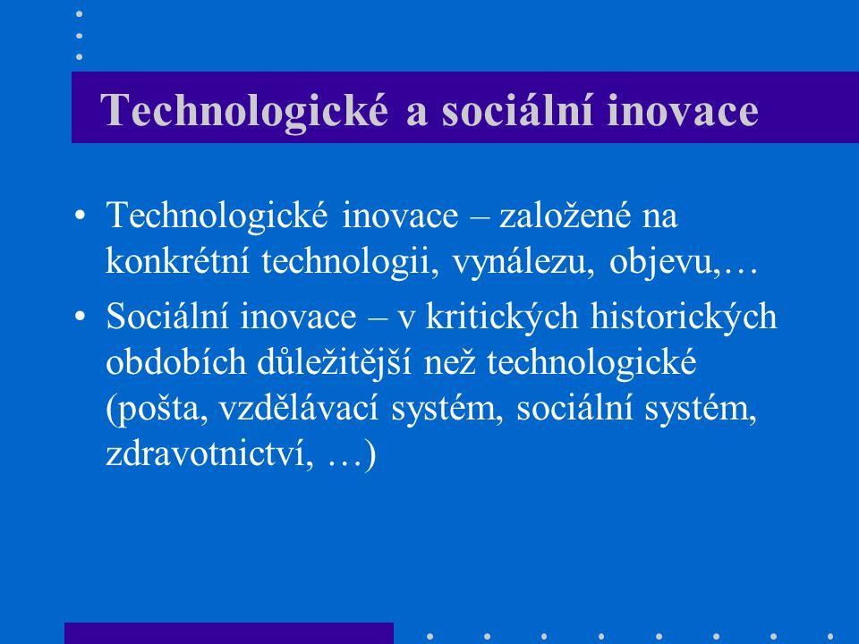 Technologické a sociální inovace Technologické inovace – založené na konkrétní technologii, vynálezu, objevu,… Sociální inovace – v kritických histori