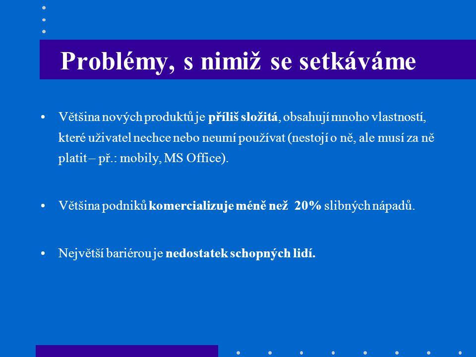 Problémy, s nimiž se setkáváme Většina nových produktů je příliš složitá, obsahují mnoho vlastností, které uživatel nechce nebo neumí používat (nestoj