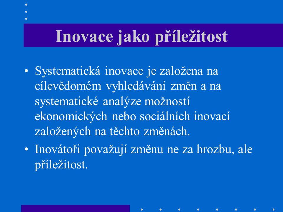 Inovace jako příležitost Systematická inovace je založena na cílevědomém vyhledávání změn a na systematické analýze možností ekonomických nebo sociáln