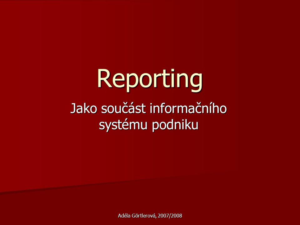 Adéla Görtlerová, 2007/2008 Reporting Jako součást informačního systému podniku