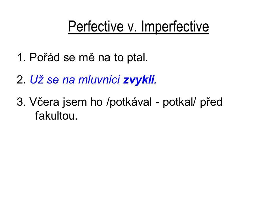 Perfective v. Imperfective 1. Pořád se mě na to ptal.