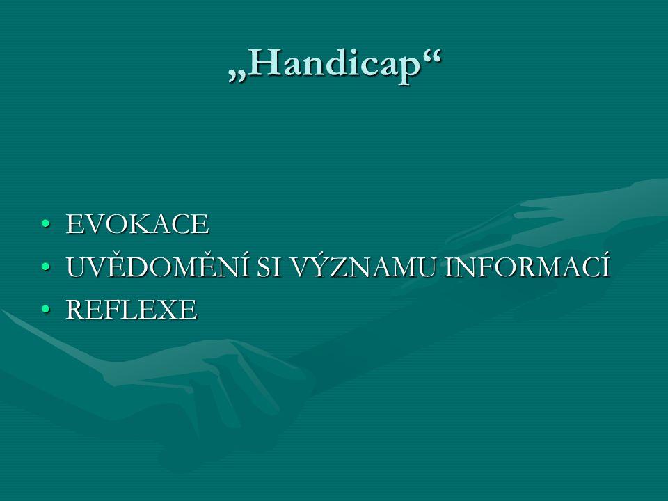 """""""Handicap"""" EVOKACEEVOKACE UVĚDOMĚNÍ SI VÝZNAMU INFORMACÍUVĚDOMĚNÍ SI VÝZNAMU INFORMACÍ REFLEXEREFLEXE"""