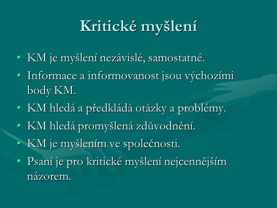Kritické myšlení KM je myšlení nezávislé, samostatné.KM je myšlení nezávislé, samostatné. Informace a informovanost jsou výchozími body KM.Informace a