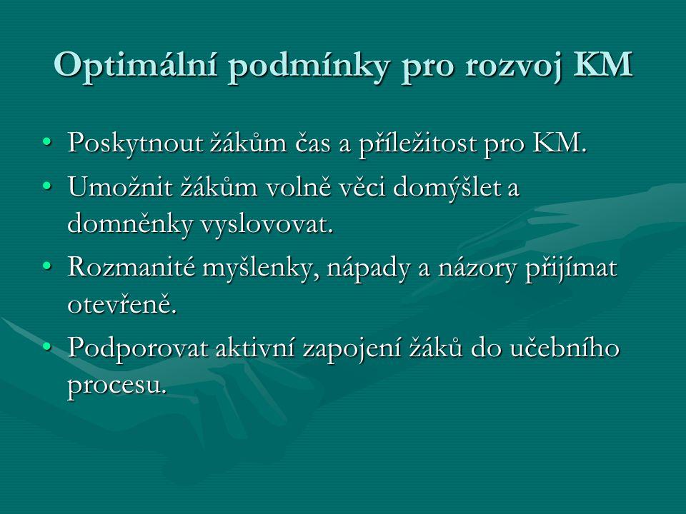 Optimální podmínky pro rozvoj KM Poskytnout žákům čas a příležitost pro KM.Poskytnout žákům čas a příležitost pro KM. Umožnit žákům volně věci domýšle