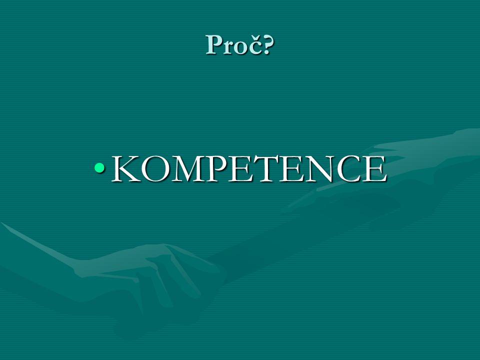 Kompetence Soubor znalostí, dovedností, postojů, hodnot, které umožňují člověku účinně jednat v různých situacích.Soubor znalostí, dovedností, postojů, hodnot, které umožňují člověku účinně jednat v různých situacích.