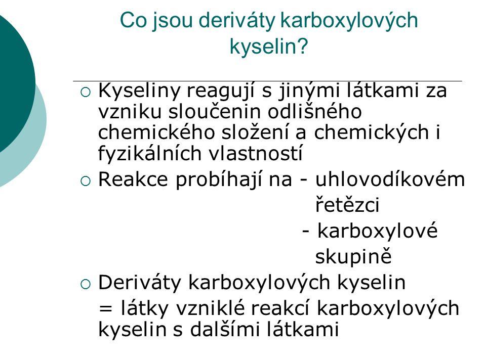 Co jsou deriváty karboxylových kyselin?  Kyseliny reagují s jinými látkami za vzniku sloučenin odlišného chemického složení a chemických i fyzikálníc