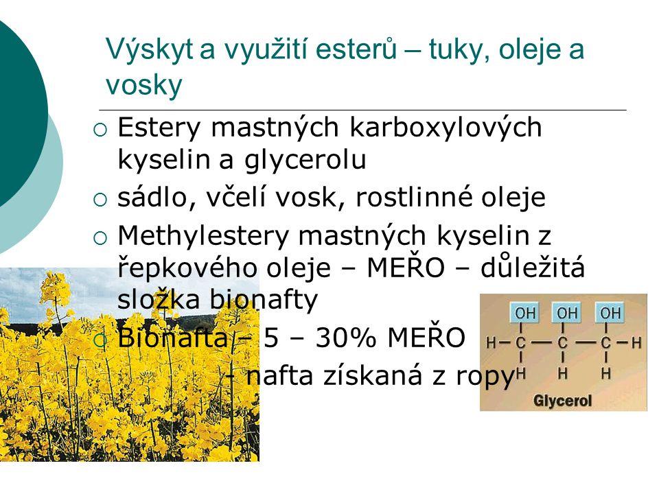 Výskyt a využití esterů – tuky, oleje a vosky  Estery mastných karboxylových kyselin a glycerolu  sádlo, včelí vosk, rostlinné oleje  Methylestery
