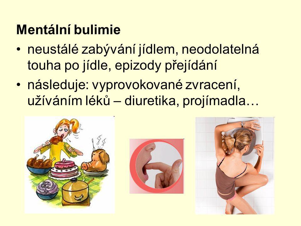 Mentální bulimie neustálé zabývání jídlem, neodolatelná touha po jídle, epizody přejídání následuje: vyprovokované zvracení, užíváním léků – diuretika