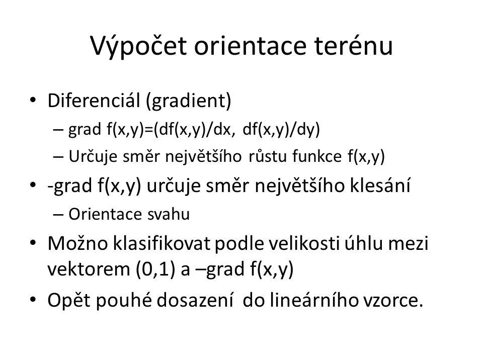 Výpočet orientace terénu Diferenciál (gradient) – grad f(x,y)=(df(x,y)/dx, df(x,y)/dy) – Určuje směr největšího růstu funkce f(x,y) -grad f(x,y) určuje směr největšího klesání – Orientace svahu Možno klasifikovat podle velikosti úhlu mezi vektorem (0,1) a –grad f(x,y) Opět pouhé dosazení do lineárního vzorce.