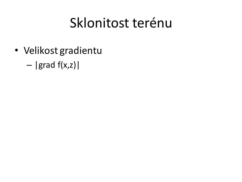 Sklonitost terénu Velikost gradientu – |grad f(x,z)|