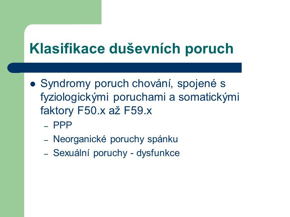 Klasifikace duševních poruch Syndromy poruch chování' spojené s fyziologickými poruchami a somatickými faktory F50.x až F59.x – PPP – Neorganické poru