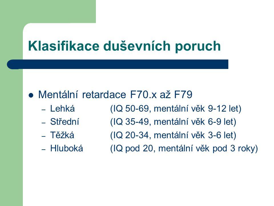 Klasifikace duševních poruch Mentální retardace F70.x až F79 – Lehká (IQ 50-69, mentální věk 9-12 let) – Střední(IQ 35-49, mentální věk 6-9 let) – Těž