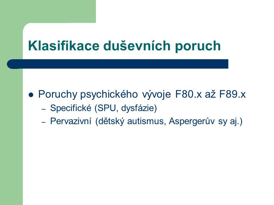 Klasifikace duševních poruch Poruchy psychického vývoje F80.x až F89.x – Specifické (SPU, dysfázie) – Pervazivní (dětský autismus, Aspergerův sy aj.)