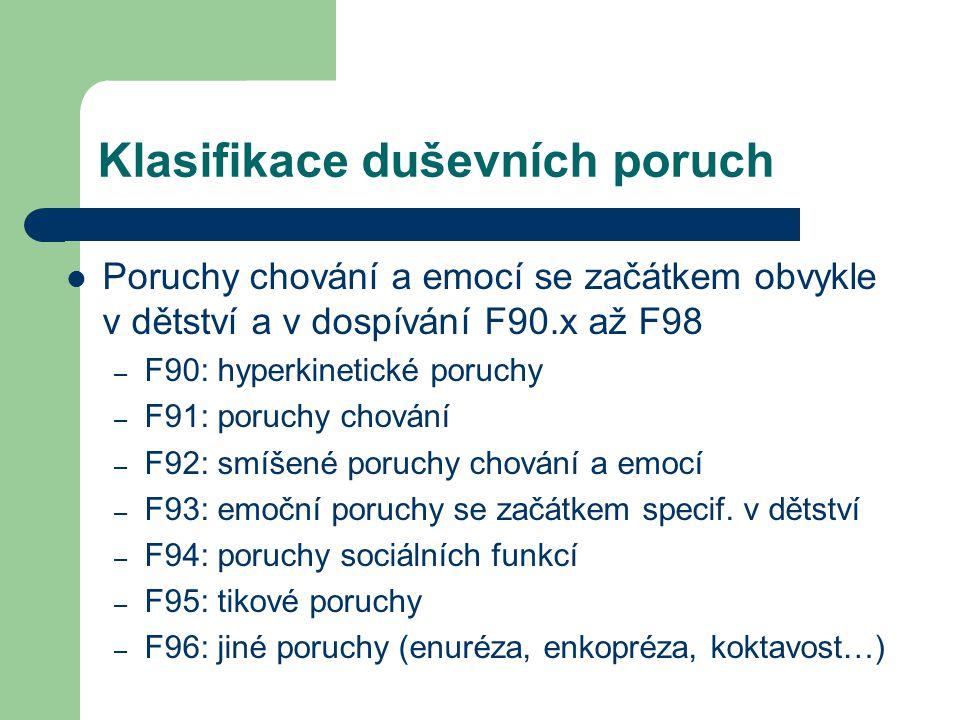 Klasifikace duševních poruch Poruchy chování a emocí se začátkem obvykle v dětství a v dospívání F90.x až F98 – F90: hyperkinetické poruchy – F91: por