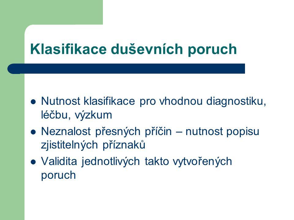Klasifikace duševních poruch MKN 10 (ICD-10) – současná klasifikace užívaná mezinárodně v celé medicíně Pro psychiatrii má vyhrazené písmeno F 10 kategorií F0 – F9 + poskupiny Možnost rozšíření dg.