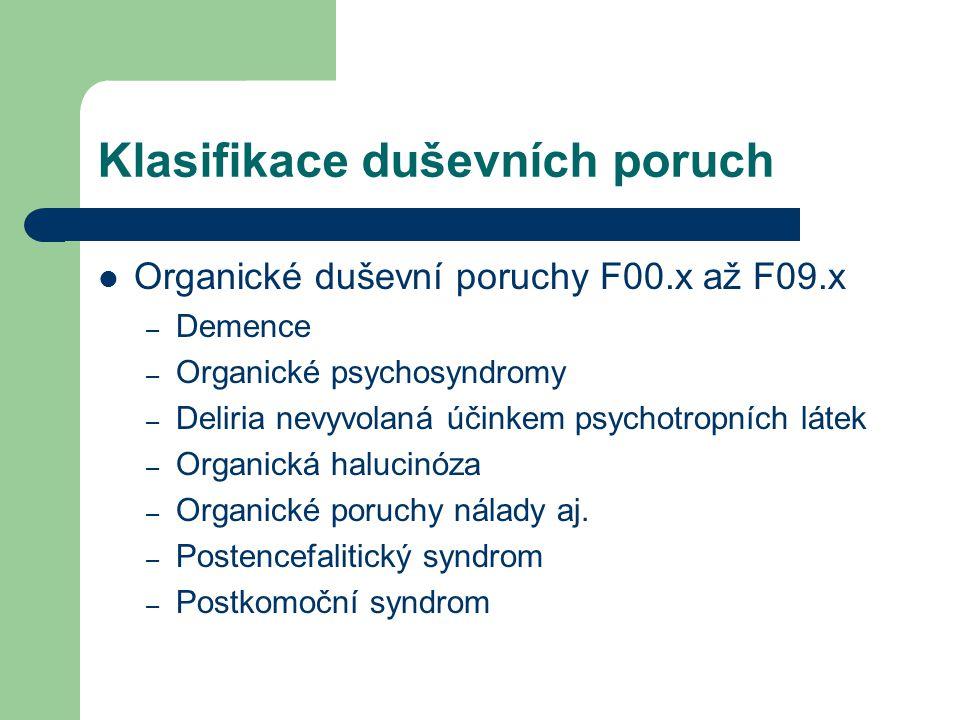 Klasifikace duševních poruch Poruchy způsobené užíváním návykových látek F10.x až F19.x – 0: akutní intoxikace – 1: škodlivé užívání – 2: syndrom závislosti – 3: odvykací stav – 4: odvykací stav s deliriem – 5: psychotická porucha – 6: amnestický syndrom – 7: psychotická porucha reziduální a s pozdním nástupem