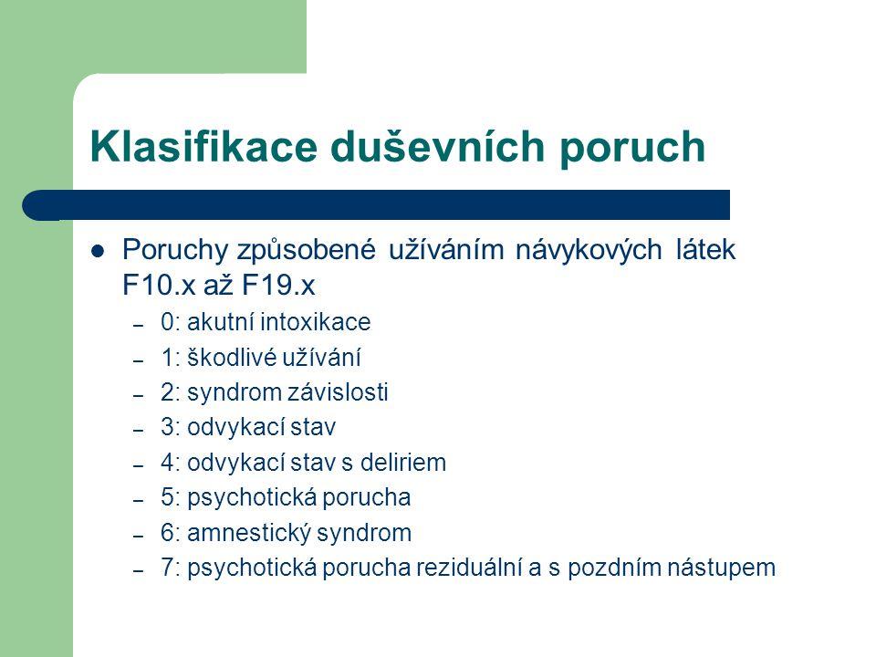 Klasifikace duševních poruch F10 – alkohol F11 – opioidy F12 – kanabinoidy F13 – sedativa/hypnotika F14 – kokain F15 – jiné stimulanty, včetně kofeinu F16 – halucinogeny F17 – tabák F18 – org.