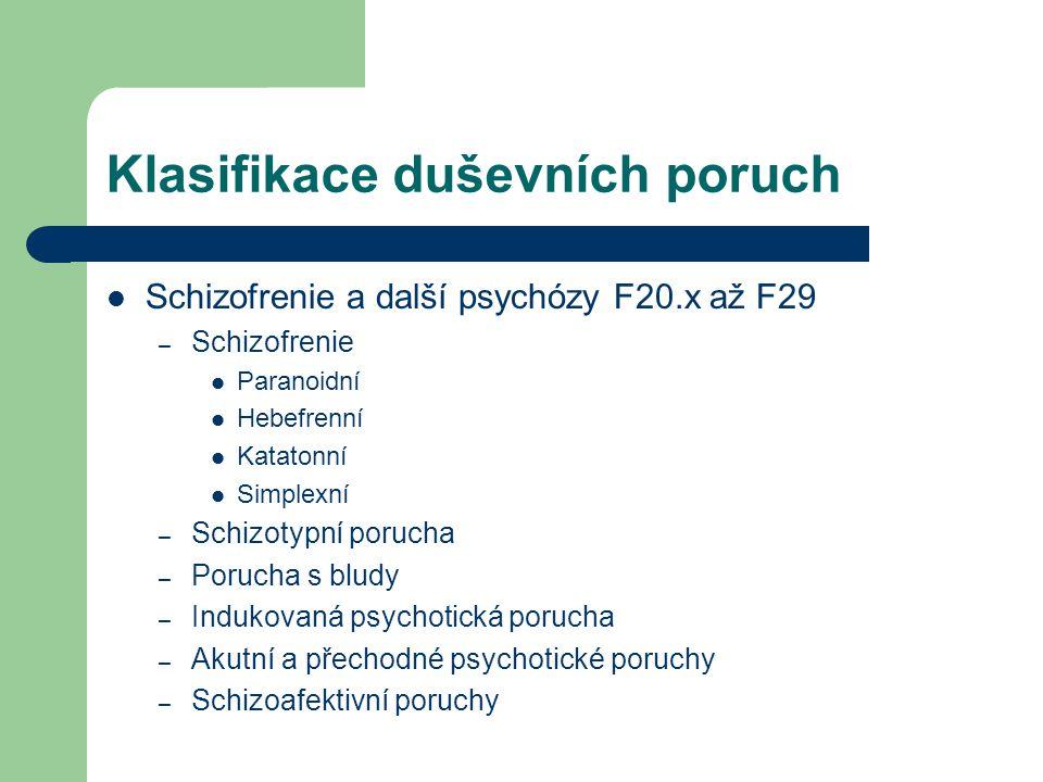 Klasifikace duševních poruch Schizofrenie a další psychózy F20.x až F29 – Schizofrenie Paranoidní Hebefrenní Katatonní Simplexní – Schizotypní porucha