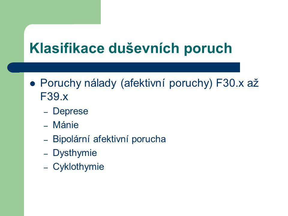 Klasifikace duševních poruch Poruchy nálady (afektivní poruchy) F30.x až F39.x – Deprese – Mánie – Bipolární afektivní porucha – Dysthymie – Cyklothym