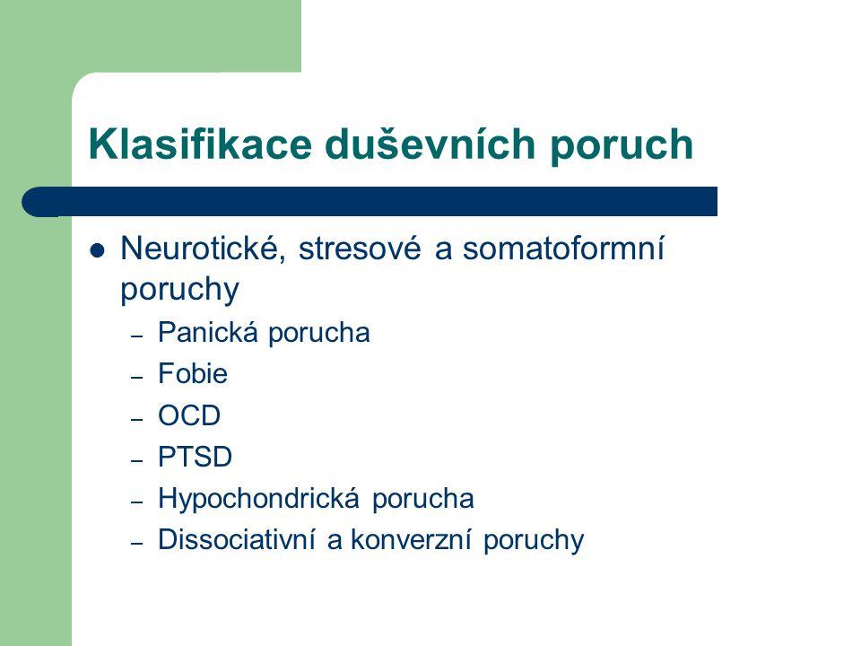 Klasifikace duševních poruch Neurotické, stresové a somatoformní poruchy – Panická porucha – Fobie – OCD – PTSD – Hypochondrická porucha – Dissociativ