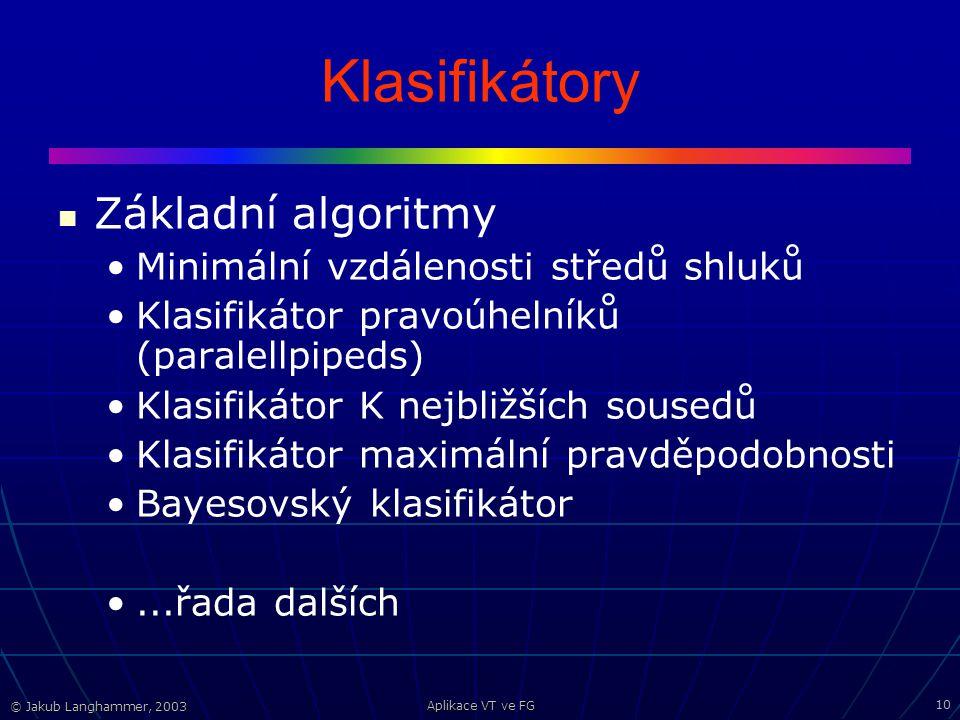 © Jakub Langhammer, 2003 Aplikace VT ve FG 10 Klasifikátory Základní algoritmy Minimální vzdálenosti středů shluků Klasifikátor pravoúhelníků (paralellpipeds) Klasifikátor K nejbližších sousedů Klasifikátor maximální pravděpodobnosti Bayesovský klasifikátor...řada dalších