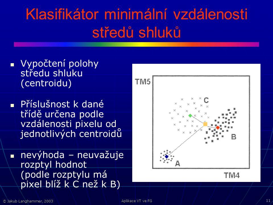© Jakub Langhammer, 2003 Aplikace VT ve FG 11 Klasifikátor minimální vzdálenosti středů shluků Vypočtení polohy středu shluku (centroidu) Příslušnost k dané třídě určena podle vzdálenosti pixelu od jednotlivých centroidů nevýhoda – neuvažuje rozptyl hodnot (podle rozptylu má pixel blíž k C než k B)