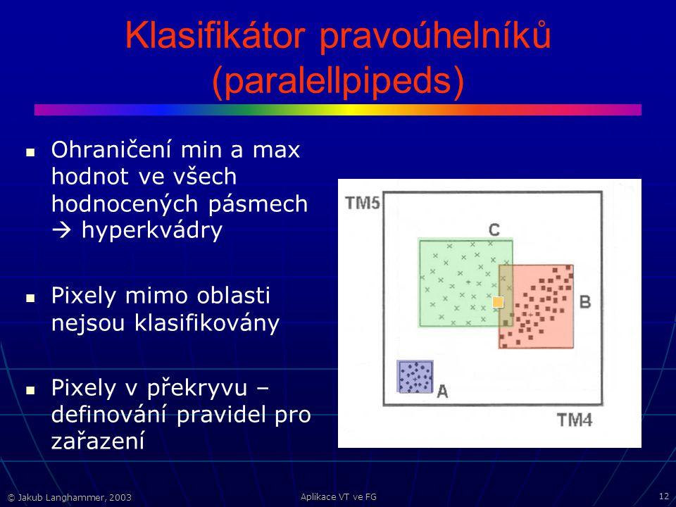 © Jakub Langhammer, 2003 Aplikace VT ve FG 12 Klasifikátor pravoúhelníků (paralellpipeds) Ohraničení min a max hodnot ve všech hodnocených pásmech  hyperkvádry Pixely mimo oblasti nejsou klasifikovány Pixely v překryvu – definování pravidel pro zařazení