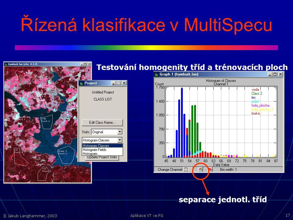 © Jakub Langhammer, 2003 Aplikace VT ve FG 17 Řízená klasifikace v MultiSpecu Testování homogenity tříd a trénovacích ploch separace jednotl.