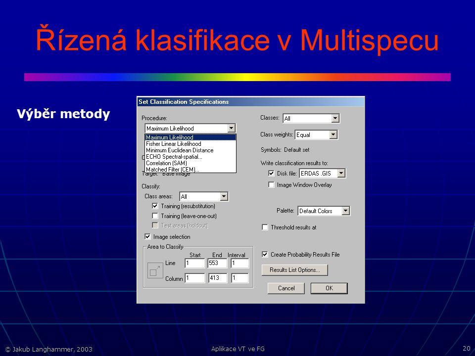 © Jakub Langhammer, 2003 Aplikace VT ve FG 20 Řízená klasifikace v Multispecu Výběr metody