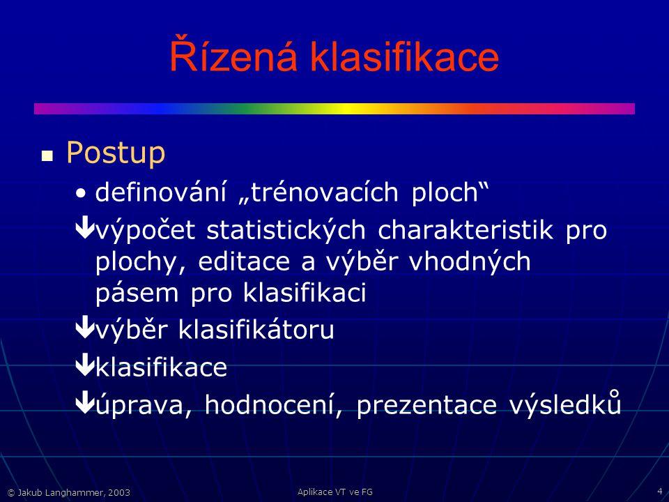 © Jakub Langhammer, 2003 Aplikace VT ve FG 15 Řízená klasifikace v MultiSpecu Definice trénovacích ploch Processor – Statistics