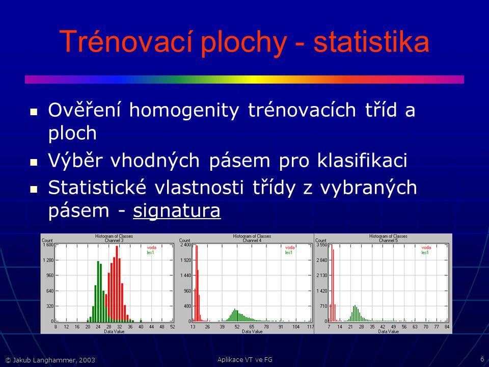 © Jakub Langhammer, 2003 Aplikace VT ve FG 6 Trénovací plochy - statistika Ověření homogenity trénovacích tříd a ploch Výběr vhodných pásem pro klasifikaci Statistické vlastnosti třídy z vybraných pásem - signatura