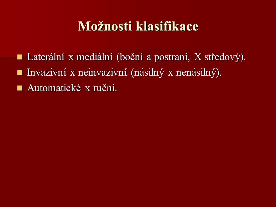 Možnosti klasifikace Laterální x mediální (boční a postraní, X středový).