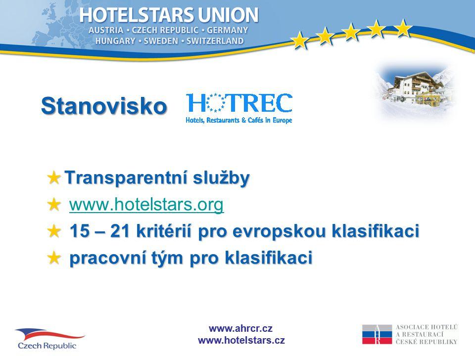 www.ahrcr.cz www.hotelstars.cz www.ahrcr.cz www.hotelstars.cz Stanovisko ★ Transparentní služby ★ ★ www.hotelstars.orgwww.hotelstars.org ★ 15 – 21 kritérií pro evropskou klasifikaci ★ pracovní tým pro klasifikaci