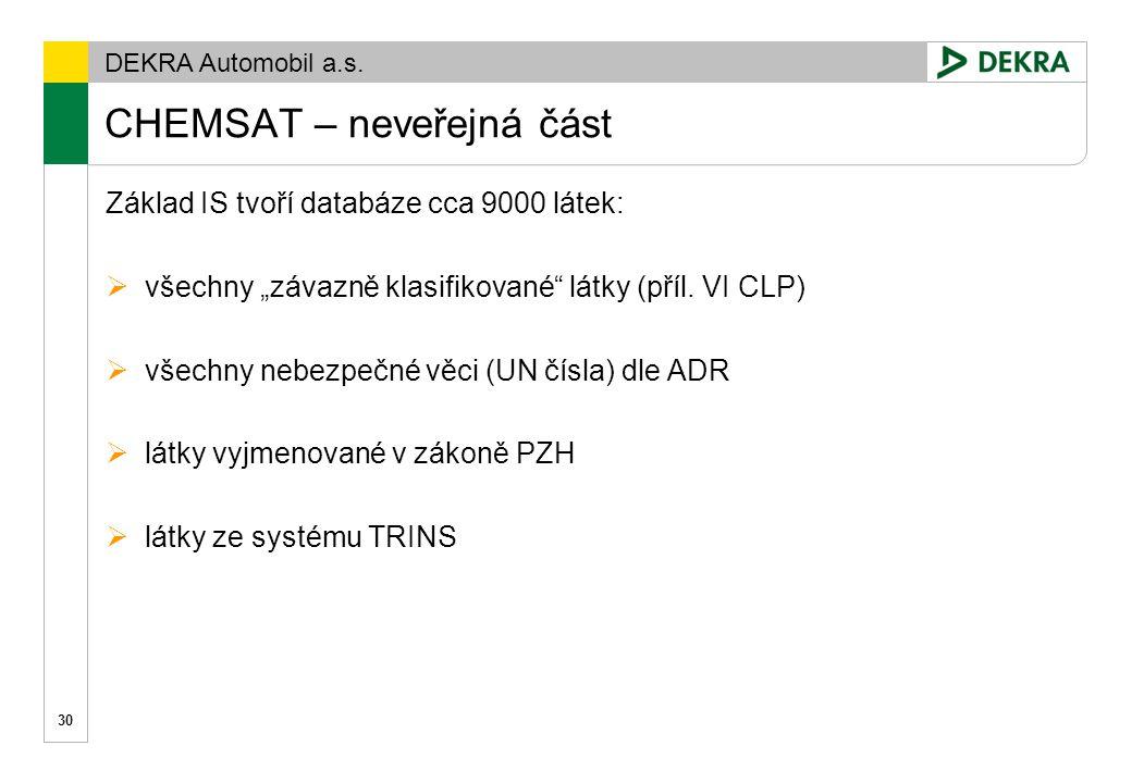 DEKRA Automobil a.s. CHEMSAT – klasifikace DSD 31