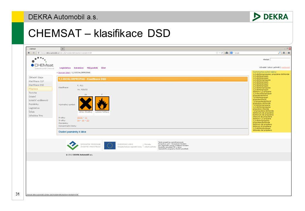 DEKRA Automobil a.s. CHEMSAT – klasifikace CLP 32