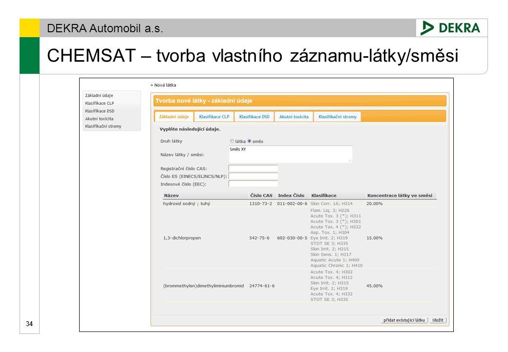 DEKRA Automobil a.s. CHEMSAT – interaktivní průvodce klasifikací 35