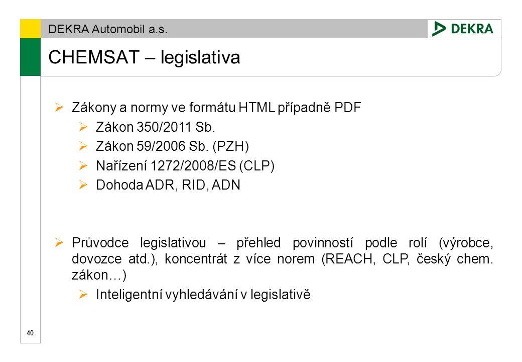 DEKRA Automobil a.s. CHEMSAT – legislativa 41