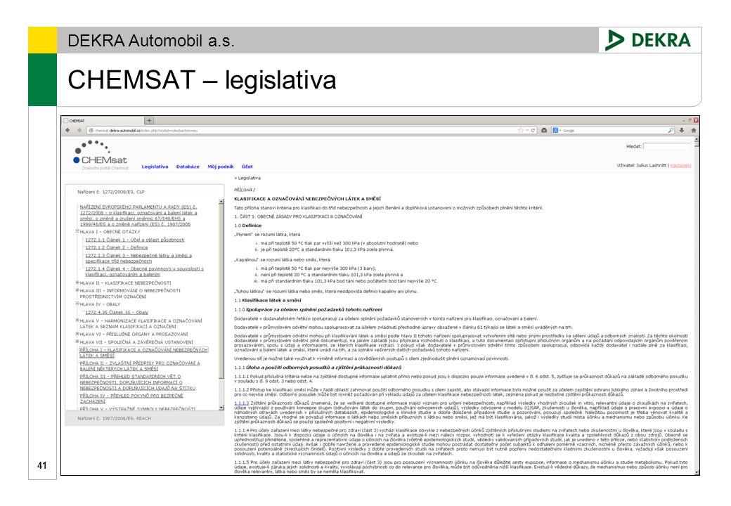 DEKRA Automobil a.s. 42 CHEMSAT www.chemsat.cz
